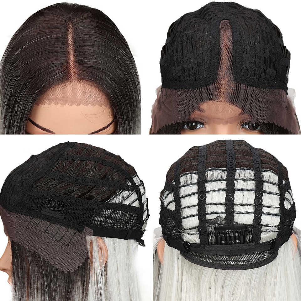 Magia reta peruca dianteira do laço sintético middel parte cinza cor 18 Polegada bob perucas para preto feminino ombre peruca cabelo afro-americano