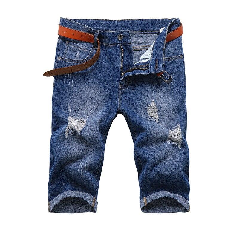 MORUANCLE 2017 Summer Men's Ripped Denim Shorts Slim Fit Black ...