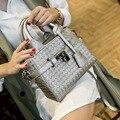 2016 Vintage Diamond Lattice Knitting Tote Bag Fashion Women's Small Woven Messenger Bags Cute Flap Handbags