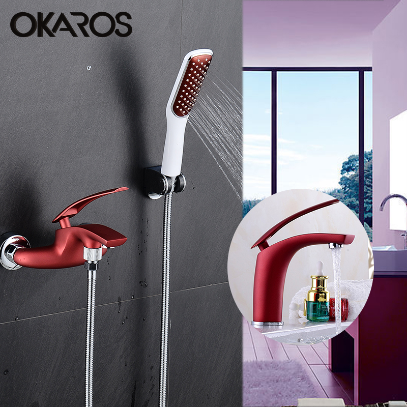 OKAROS Red Wine Basin Faucet Water Tap Plus Bathroom Shower Faucet Bath Shower Taps Shower Head Wall mixer torneira china sanitary ware chrome wall mount thermostatic water tap water saver thermostatic shower faucet