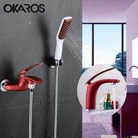 OKAROS Red Wine Basin Faucet Water Tap Plus Bathroom Shower Faucet Bath Shower Taps Shower Head Wall mixer torneira