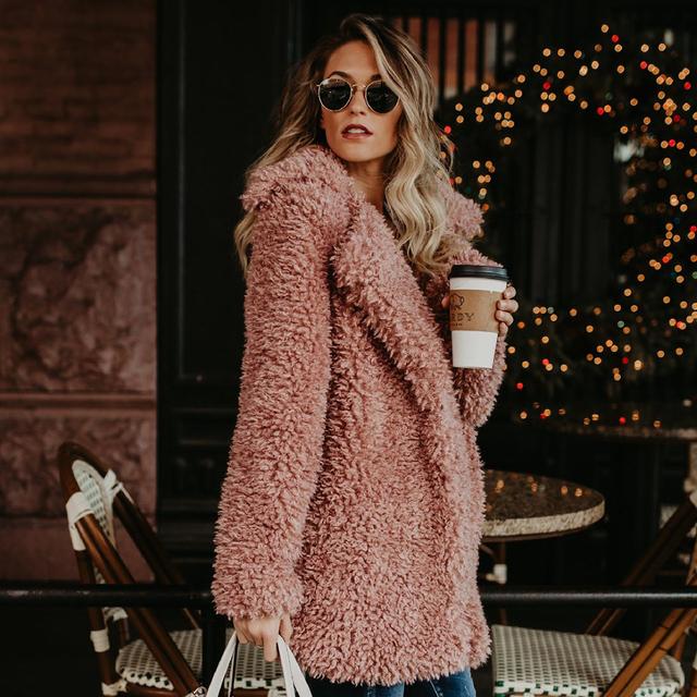 Jocoo Jolee Women Europe Style Fluffy Faux Fur Jackets Female Thicken Winter Fake Fur Pink Black Coat Fashion Cardigan Overcoats