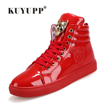Fashion Leopard Sequined Skate Shoes For Men Ankle Boots 2016 New PU Patent Leather Shoe High Top Casual Flat Shoes KUYUPP F184