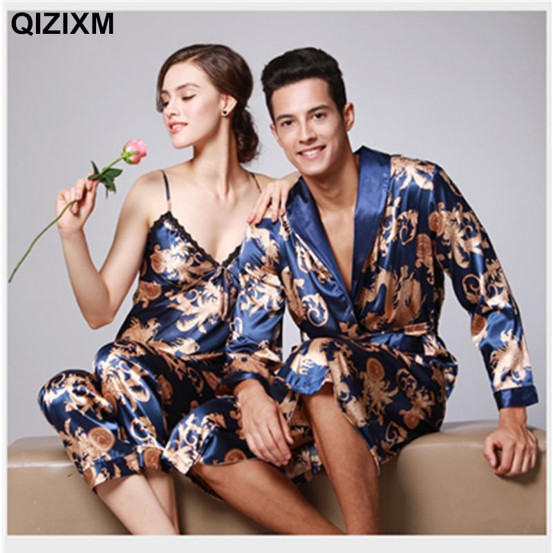 New Couple Pajamas Emulation Silk Women Pijama three sets Full Sleeve Men Pyjama V-neck Print Casual Nightwear Lovers Sleepwear
