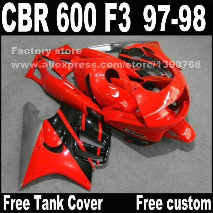 Motorcycle parts for HONDA CBR 600 F3 fairings 1997 1998 CBR600 F3 97 98 red black fairing kit plastic sets