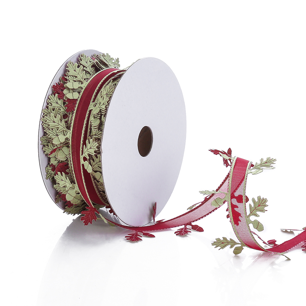 20 Meters Tree Printed Organza Ribbons Christmas Wedding Decoration Lace Crafts
