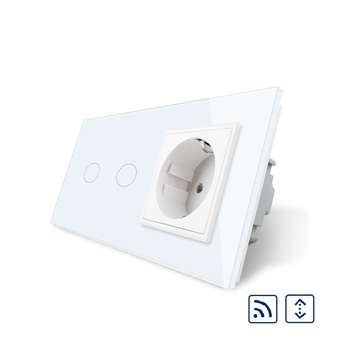 Livolo Smart Remote Curtains Switch,16A EU standard Wall Power Socket, White Crystal Glass Panel, Touch Switch with Wall Outlet
