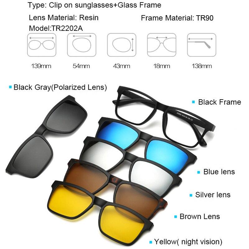 Prescription Glasses 5 in 1 magnetic sunglasses clip on eyeglasses magnetic lens sunglasses Flexible eyeglasses sun glasses