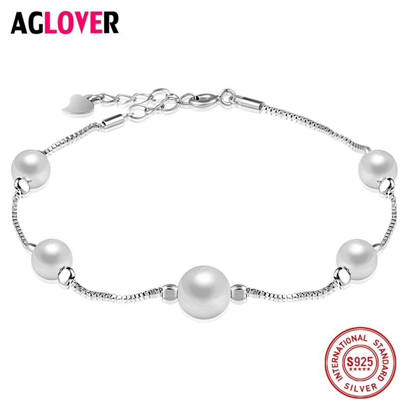 925 Sterling Silver Pearl Bracelet Women Fashion Charm Bracelet Female Brand 100 Silver Jewelry in Bracelets Bangles from Jewelry Accessories