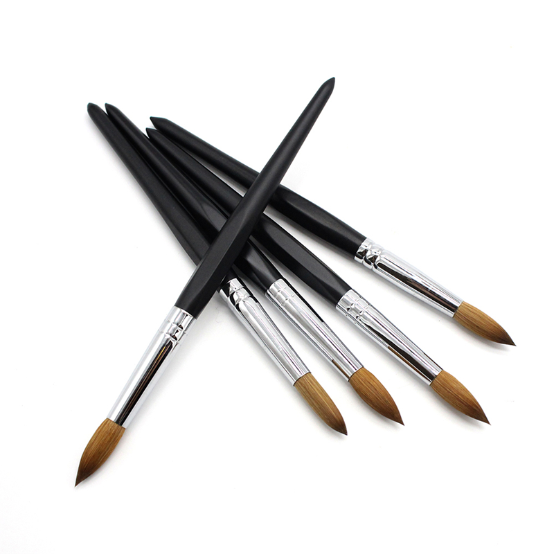 100% Kolinsky Sable Acrylic Nail Brush Wooden Handle No. 8/10/12 Acrylic Liquid Powder Carving Builder Manicure Tools
