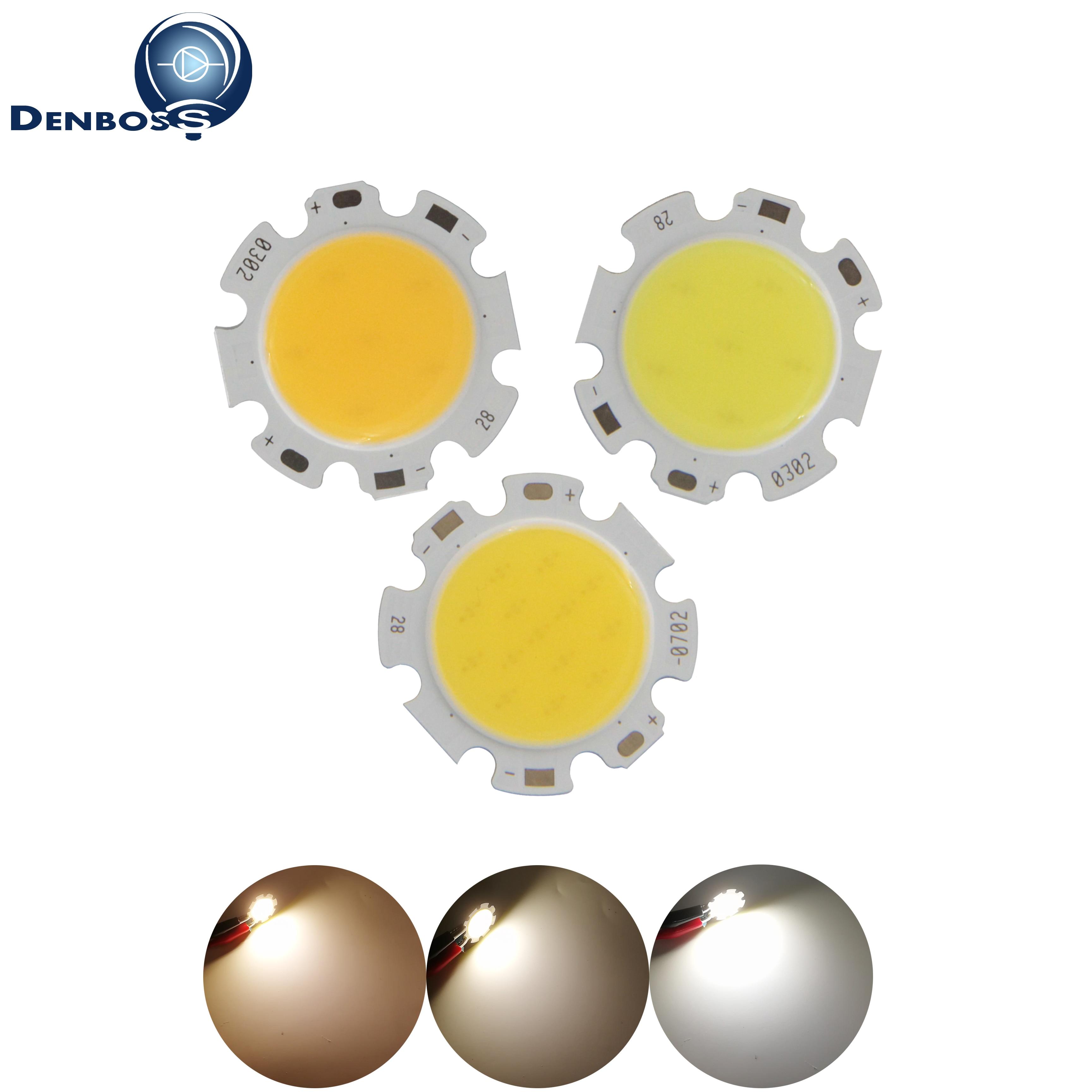 DENBOSS Manufacturer 28mm Round Aluminum LED COB Light Source Module 3W 5W 7W 10W 12W COB Bulb Lamp Flip Chips For Spotlight