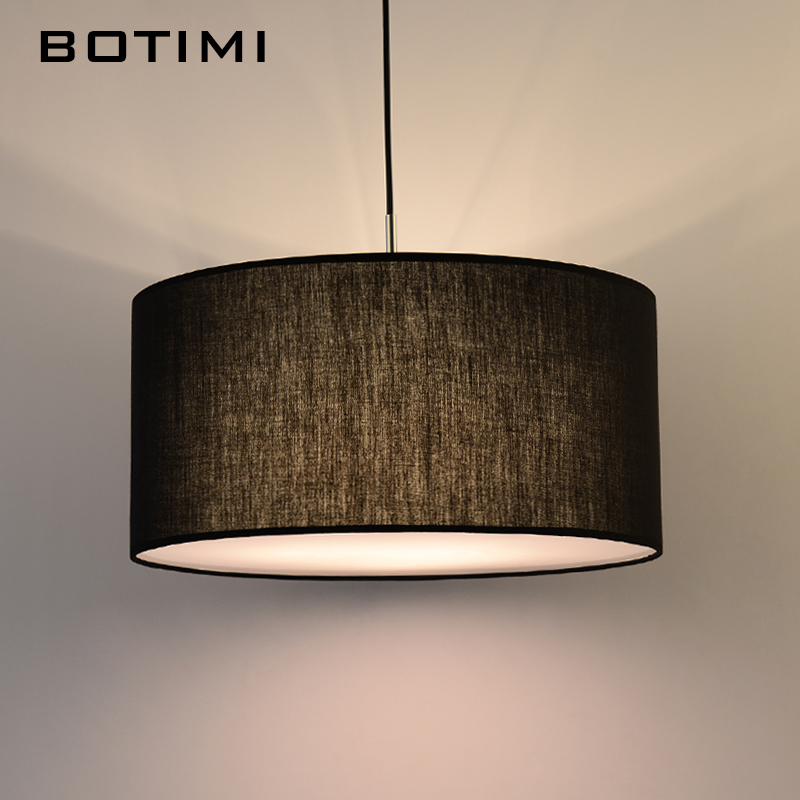 Botimi simple modern round fabric pendant lights for dining room botimi simple modern round fabric pendant lights for dining room lamparas colgantes nordic bedroom black white hanging light in pendant lights from lights mozeypictures Images