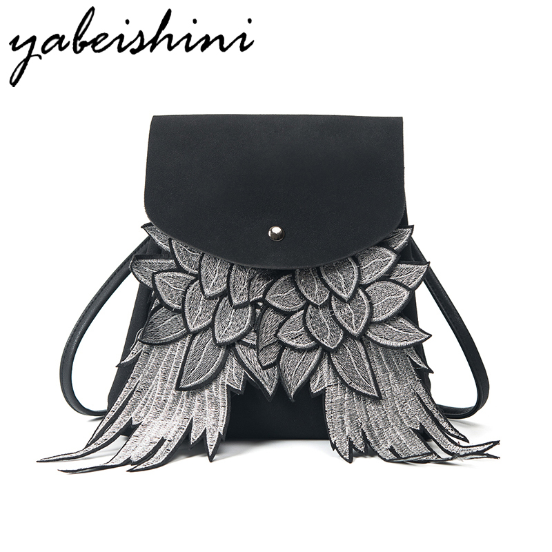 KMFFLY 2017 New Wings Black Leather Backpack Women Sac A Dos Femme School Bags For Girls Mochila Feminina Woman Backpack women backpack soft leather large capacity casual travel backpack school bags for girls student bookbag mochila mujer sac a dos