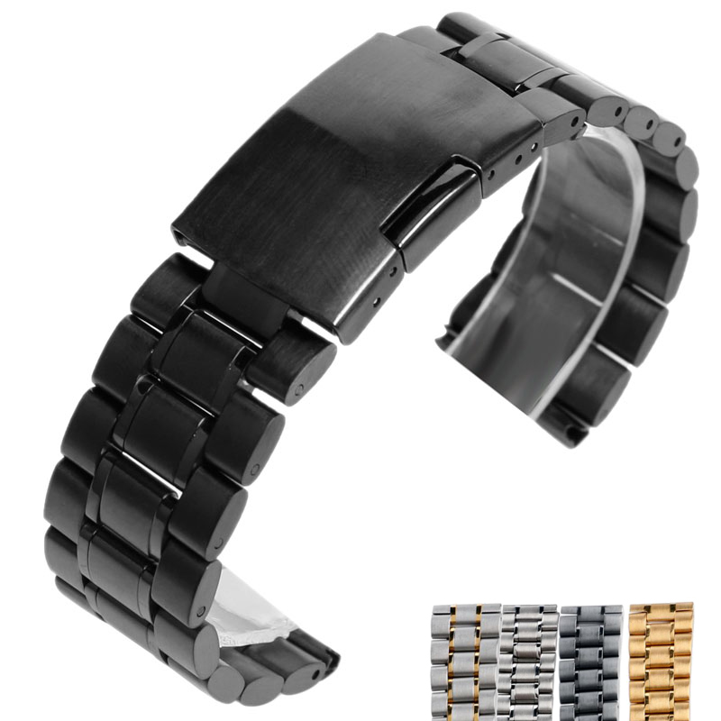 18/20/22mm Stainless Steel Replacement Men Wrist Band Watch Strap Solid Bracelet Push Button Fold Over Clasp Black/Silver/Gold stylish 8 led blue light digit stainless steel bracelet wrist watch black 1 cr2016