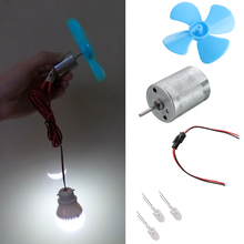 Micro Wind Turbines Generator Mini Motor With Blades LED DIY Kit стоимость