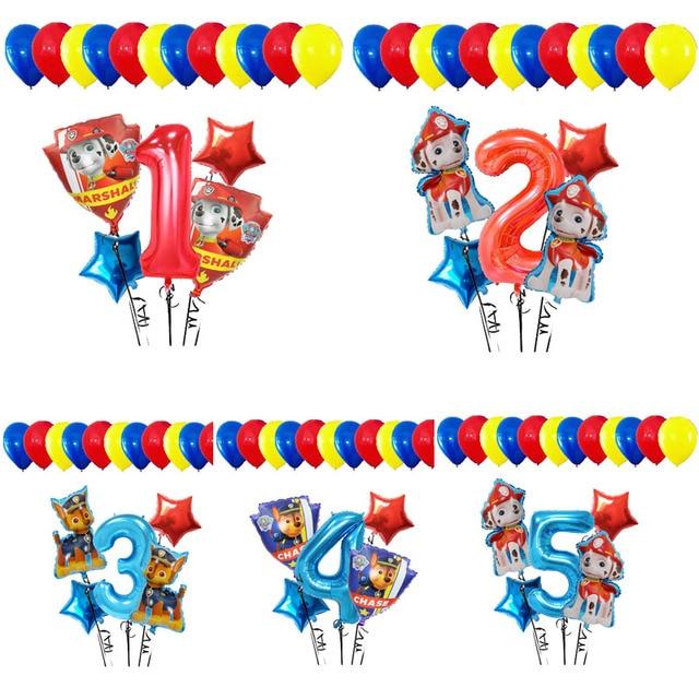 Lote de 17 unidades de Globos de aluminio de la patrulla canina, Globos de mano con dibujos animados de perro, Globos de cumpleaños, juguetes para niños, Globos con números de 32 pulgadas