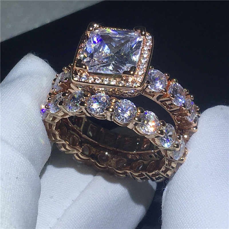 5A choucong 2018 anel Do Vintage zircão Cz Rose Gold Filled 925 de prata Anéis de Casamento Banda de Noivado definido Para Mulheres Nupcial bijoux