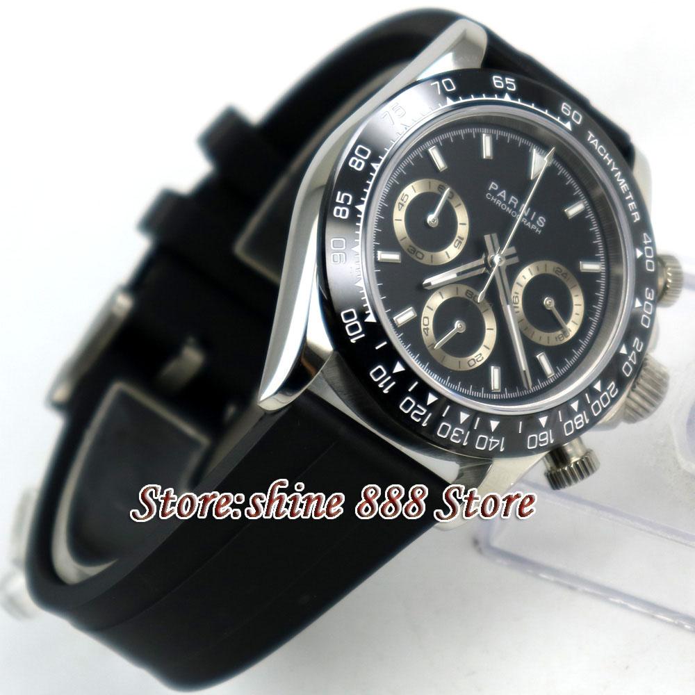 39mm PARNIS black dial sapphire glass cermaic bezel Chronograph quartz mens watch
