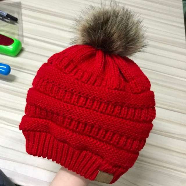 97b02a982059d labeling winter hats for women faux fur pom pom female knitted skullies  casual hat solid black