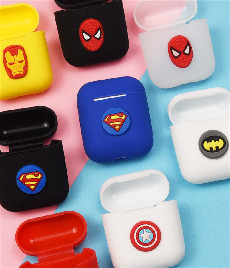 Soft Silicone Case For Apple Airpods Shockproof Cover For AirPods Earphone Case Cartoon Cute Design Spiderman Superman Batman in Earphone Accessories from Consumer Electronics