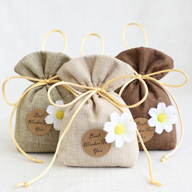 Us 14 28 40 Off 20pcs Fl Gift Bags Cotton Linen Tea Bag Wedding Christmas Birthday Candy Drawstring Pouch Sachet Best Wishes To You In
