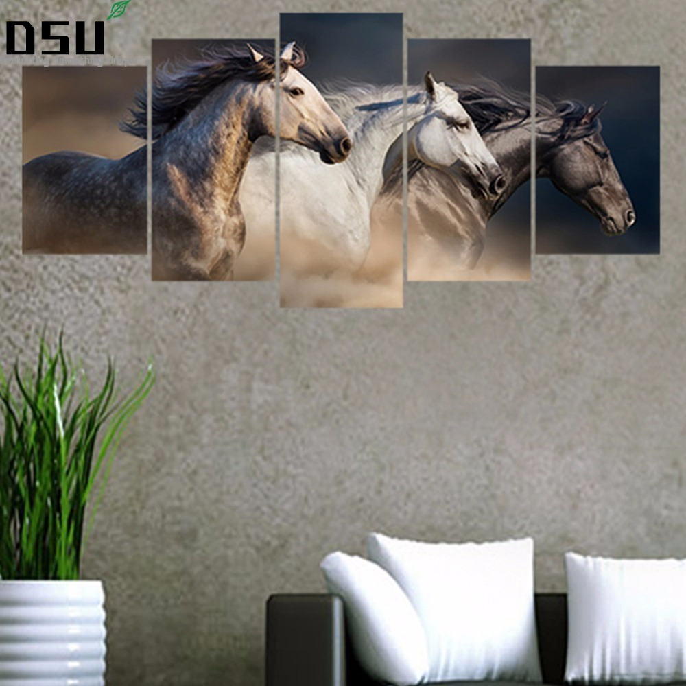 5pcs/set Horse Galloping Combination 3D DIY Wall Stickers Home Decor Living Room Poster Creative Self-adhesive Art Mural Decals