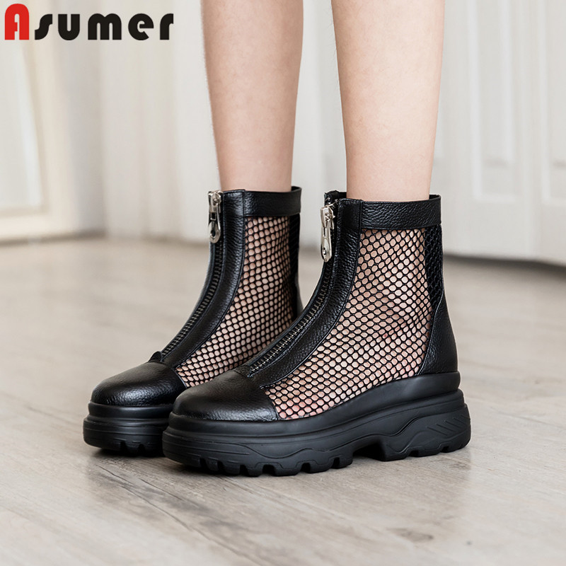 ASUMER 2019 summer boots round toe zip casual ladies prom shoes flat platform shoes mesh Ventilation genuine leather ankle bootsASUMER 2019 summer boots round toe zip casual ladies prom shoes flat platform shoes mesh Ventilation genuine leather ankle boots