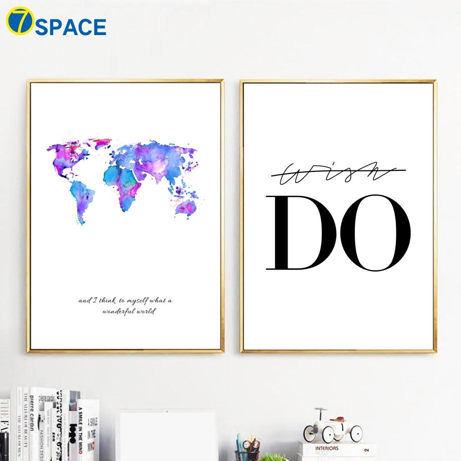 7-vesoljski zemljevid sveta platno umetnost tiskanje platno slikanje - Dekor za dom