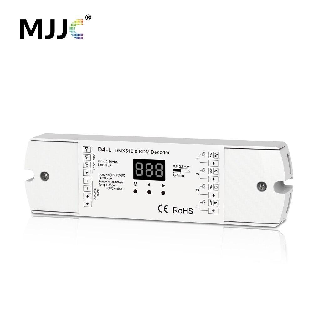 DMX512 Decoder 4CH 5A PWM RDM CV DMX 512 Decoder 12 V 24 V DC singolo Colore CT RGB RGBW LED Strip Controller 4 in 1 Driver D4-L