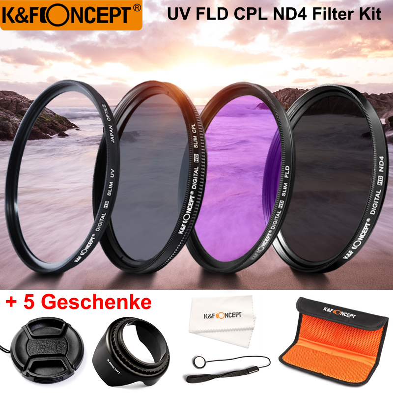 K&F CONCEPT UV+CPL+FLD+ND4 Neutral Density Camera Filters Kit Optical Glass 52/55/58/67mm For Canon Nikon Sony Fuji DSLR+5 Gifts
