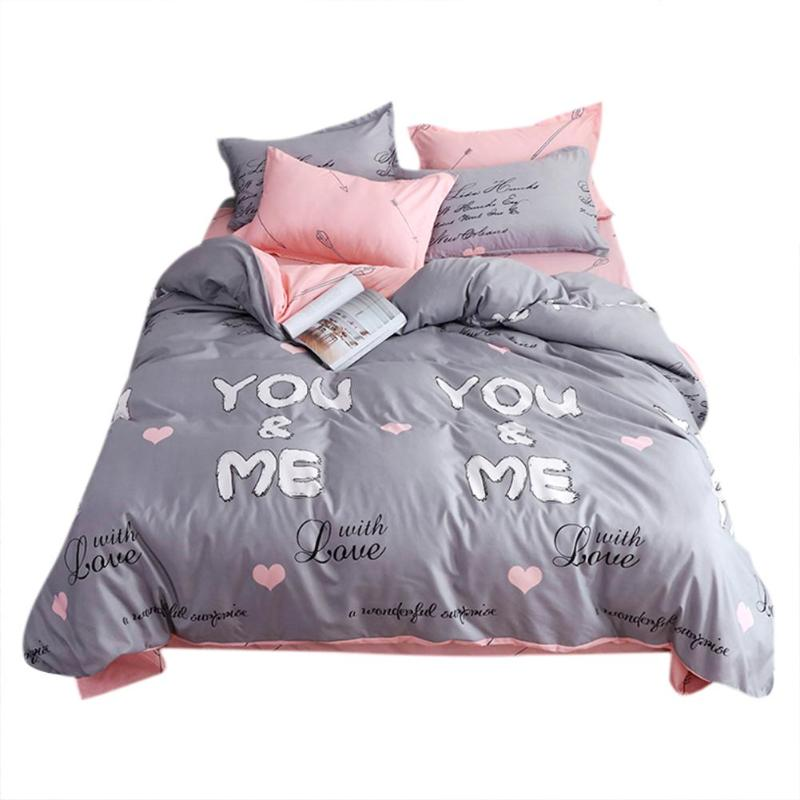 4pcs You And Me Bedding Set Soft Cotton Floral Printing Quilt Duvet Cover Flat Bed Sheet Pillowcase Minimalist Bedding