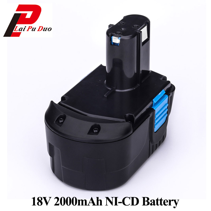 Power tool Rechargeable battery 18V 2000mAh NI-CD for Hitachi Drill: EB1820 EB1812 EB1814 EB1826HL EB1830H EB1833X EB18B 322437 for bosch 24v 3000mah power tool battery ni cd 52324b baccs24v gbh 24v gbh24vf gcm24v gkg24v gks24v gli24v gmc24v gsa24v gsa24ve