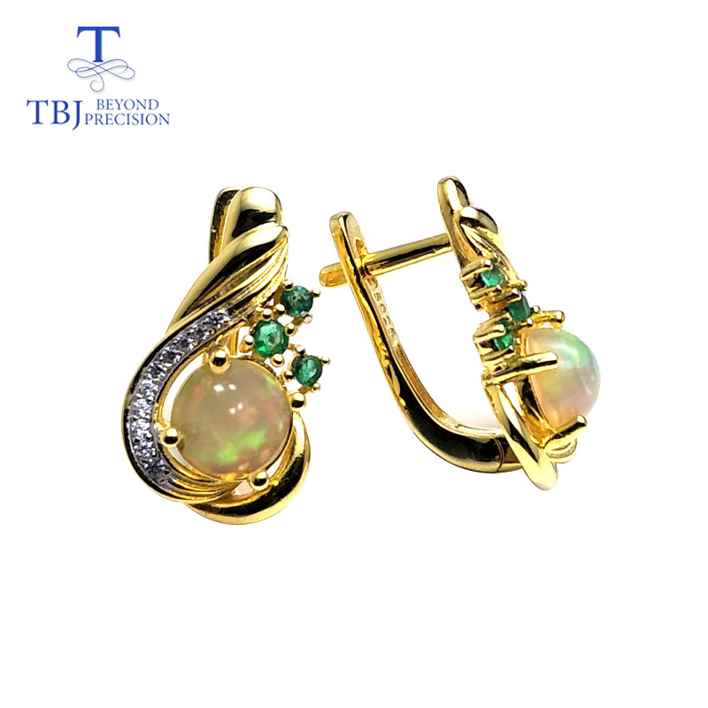 TBJ,New Clasp earring with natural ethiopian opal round 6mm 1.5ct gemstone lovely earring 925 sterling silver for girls with box-in Earrings from Jewelry & Accessories    1