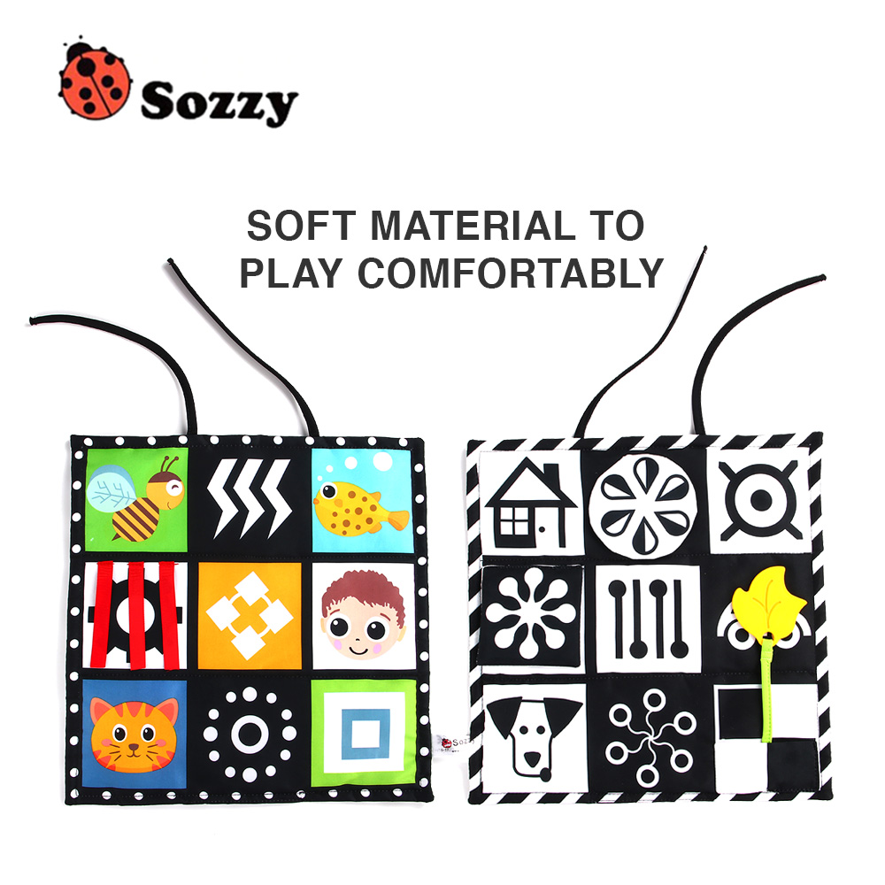 Double-side Baby Cloth Book Desk Book Baby Sensory Toys With Teether Mirror Rattles Educational Toy For Children Kid