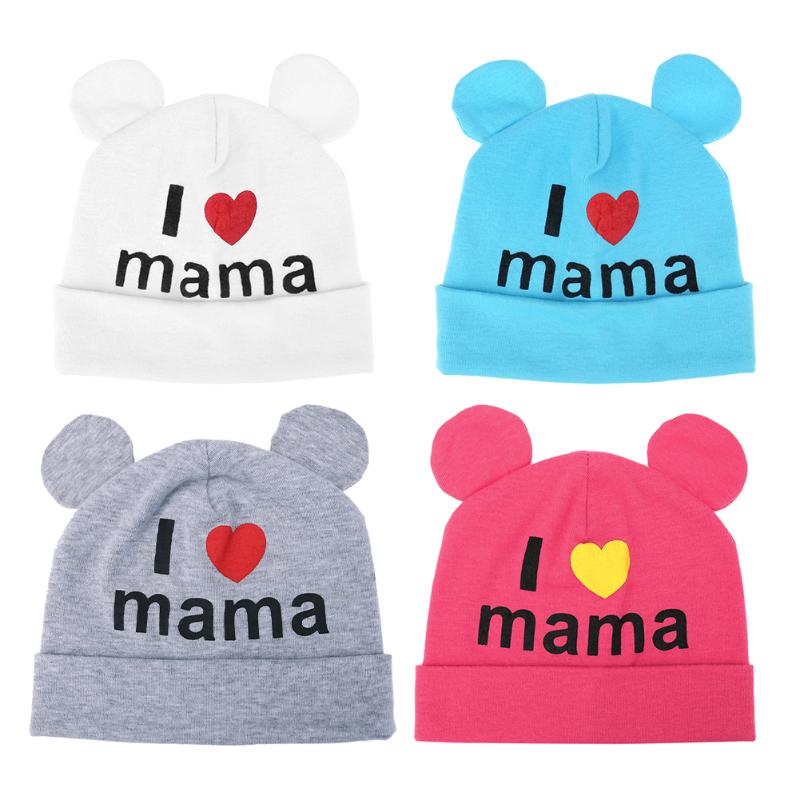 Cute Ear Baby Hats Kids Children Boys Girls Hat Beanies Cap Soft Winter Newborn Baby I Love Mama Printed Caps Skullies Hats real mink pom poms wool rabbit fur knitted hat skullies winter cap for women girls hats feminino beanies brand hats bones