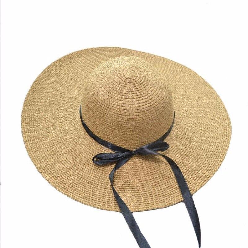 349312775d0817 summer straw hat women big wide brim beach hat sun hat foldable sun block UV  protection
