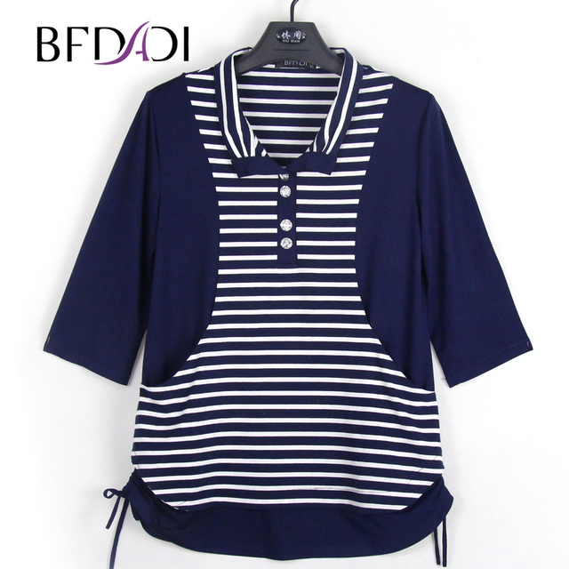 BFDADI New 2018 Spring Female T-shirt 3 4 Sleeve Stitching stripes Women s T -shirt Summer Tops Tees Brand Plus size Z-1703 90720cf953e2