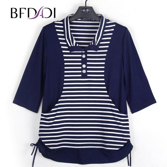 BFDADI New 2018 Spring Female T-shirt 3/4 Sleeve Stitching stripes Women's T-shirt Summer Tops Tees Brand Plus size Z-1703