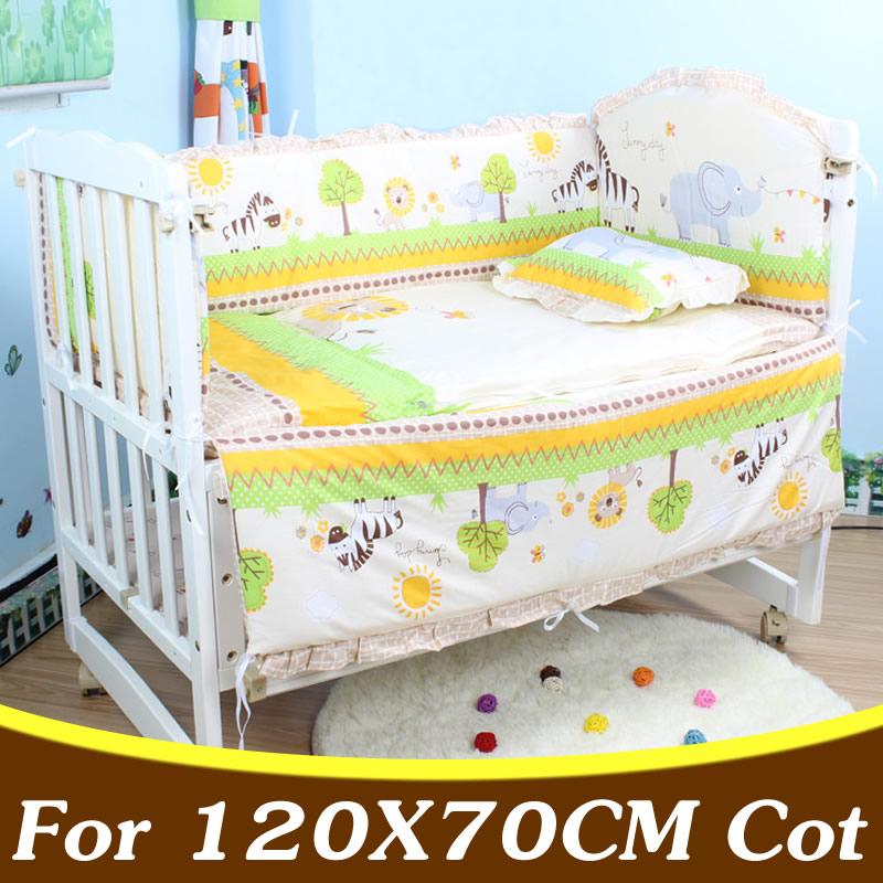 5PCS Set Cotton Baby Bedding Set Newborn Baby Cirb Bedding Set For 120X70cm Baby Bed Bumper Baby Crib Bumper CP02