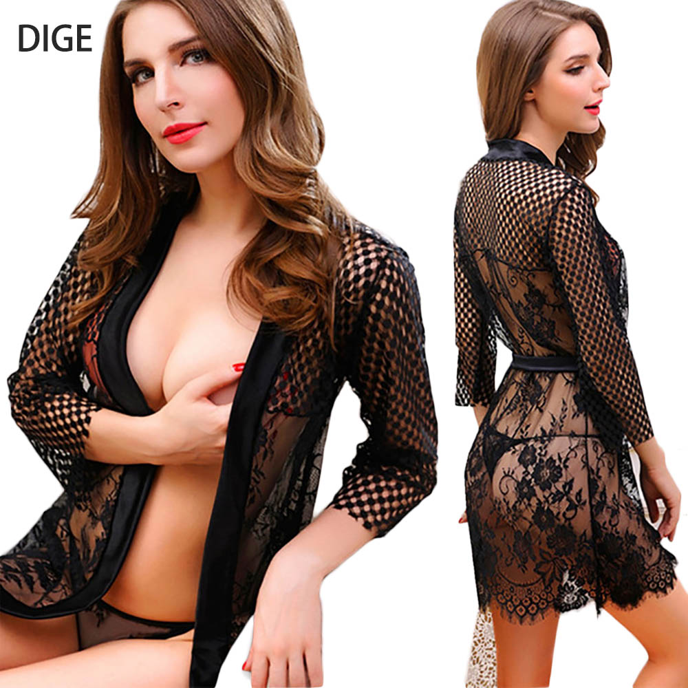 Lace See Though Nightskirt Nightgown Erotic Costumes Sleepwear Sexy Lingerie Underwear Lenceria Sets Bathrobe + T-back D0273