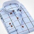Spring New 2016 Fashion Men Plaid Shirts Long Sleeve Button-up Collar Men Oxford Dress Shirts Cotton Quality Men Casual Shirt