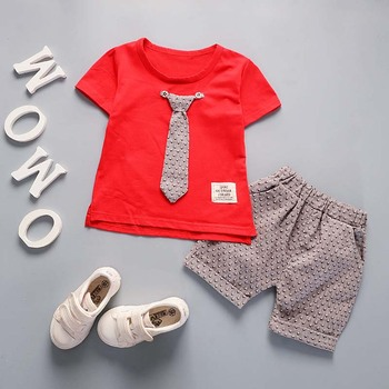 Newborn baby boys tie style clothing set casual t-shirt+ short pants 2pcs 1