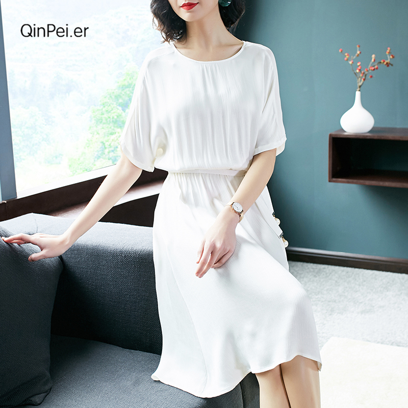 Qinpei.er 2018 new summer silk dresses, CUPRO dress,elegant and classical design,Q700508