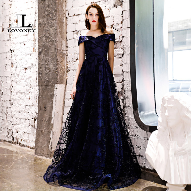 LOVONEY YS454P Long Prom Dresses 2019 New Collection Tulle Lace Up Back Formal Dress Woman Evening