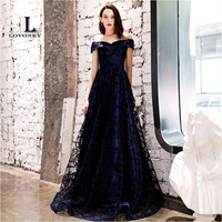 LOVONEY YS454P Long Prom Dresses 2019 New Collection Tulle Lace Up Back Formal Dress Woman Evening Party Dresses Prom Gown Prom Dresses