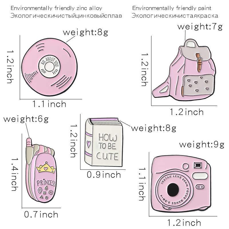 Gadis Gaya Pin Pink Ransel Kamera Ponsel Merekam Enamel Pin Lencana Gadis Manis Bros Pin Perhiasan Hadiah anak-anak