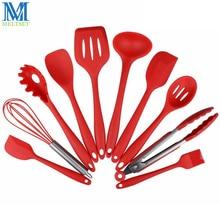 Meltset Silikon Küche Set 10 Stück Kochgeschirr Spachtel Löffel Schöpfen Spaghetti Server Geschlitzt Turner Kochen Werkzeuge
