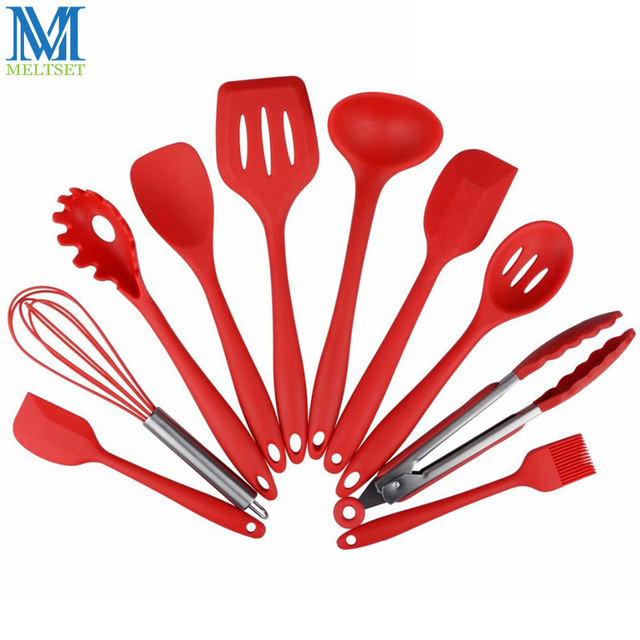Meltset Silicone Kitchen Set 10 Piece Cooking Utensil Spatula Spoon