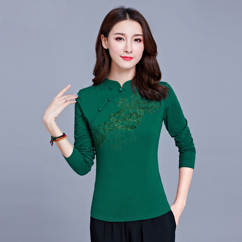 Women Lady Girls Autumn Spring Traditional Embroidered Long Sleeve T-shirt Female Retro Pan-button Cotton Basic Shirt Large Size
