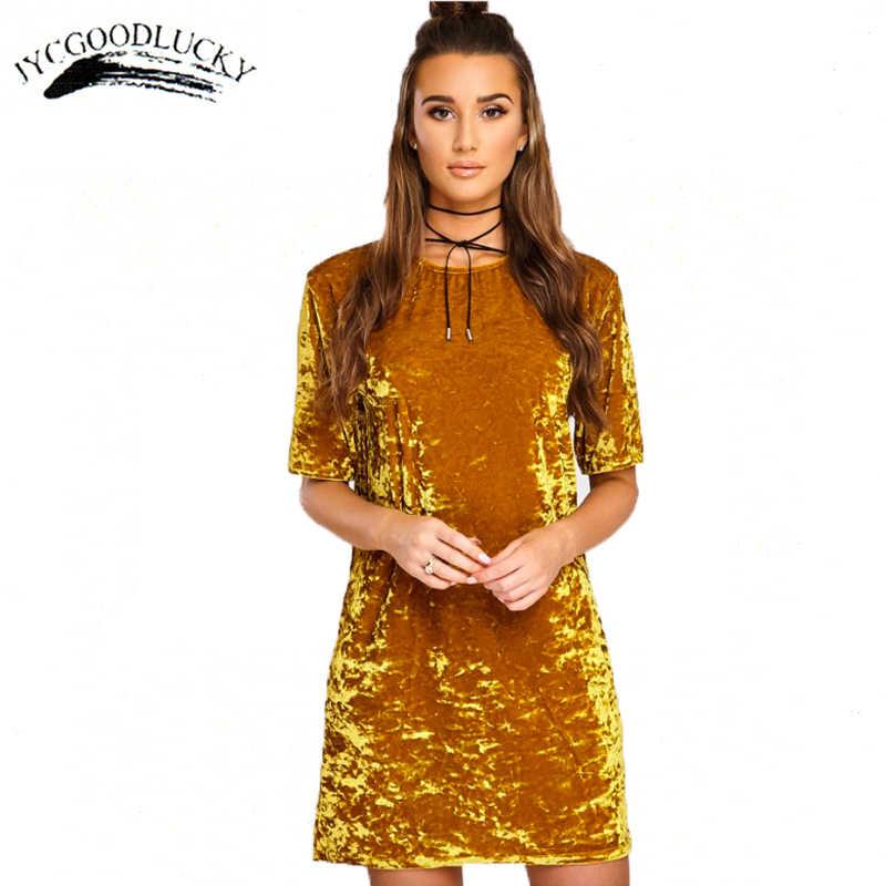 55b6f254a1979 Short Sleeve Summer Dress 2017 New Arrival Mini Simple Dress Women Gold  Velvet Plus Size Ladies Elegant Dresses O-neck